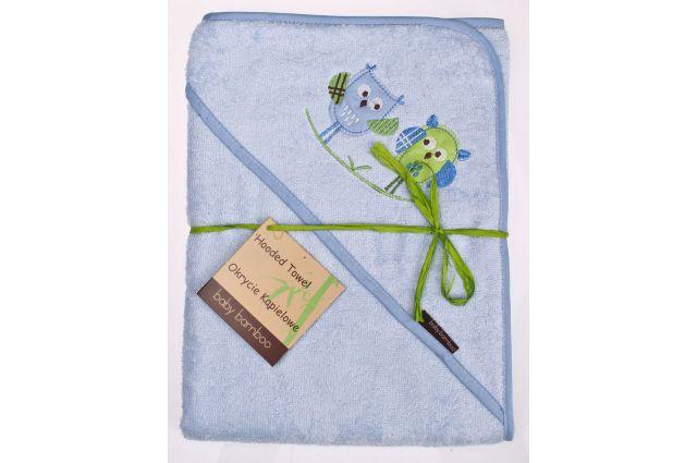 Bamboo rankšluostis su gobtuvu Blue owl Satininės paklodės TavoSapnas
