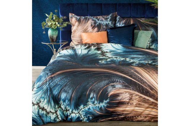 Eva Minge dizaino satino patalynės komplektas Golden Wave Satininės paklodės TavoSapnas