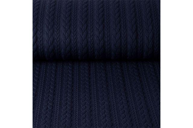 Puošnus faktūrinis trikotažas Tamsus mėlynas, likutis 1.35x1.40m Satininės paklodės TavoSapnas
