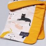 Komplektas vežimėliui Linksmieji kačiukai Satininės paklodės TavoSapnas
