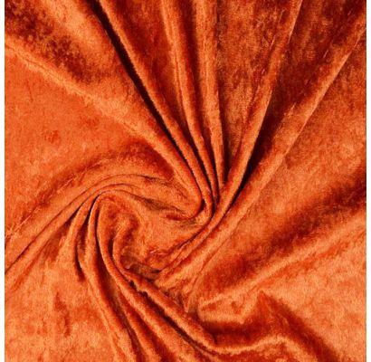 Plonas glamžytas aksomas Dark Orange, likutis 0.30x1.40m Audiniai TavoSapnas