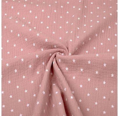 Double gauze muslinas Rožinės žvaigždutės, likutis 0.55x1.30m|Audiniai|TavoSapnas