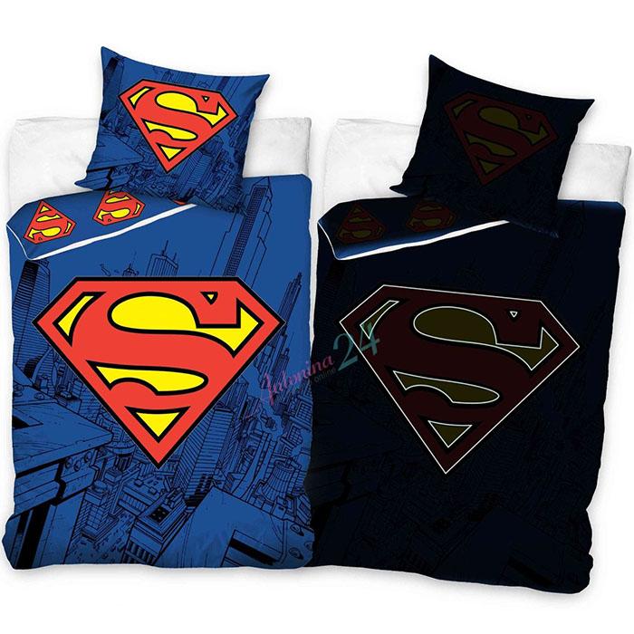 Šviečiantis tamsoje patalynės komplektas Superman Satininės paklodės TavoSapnas