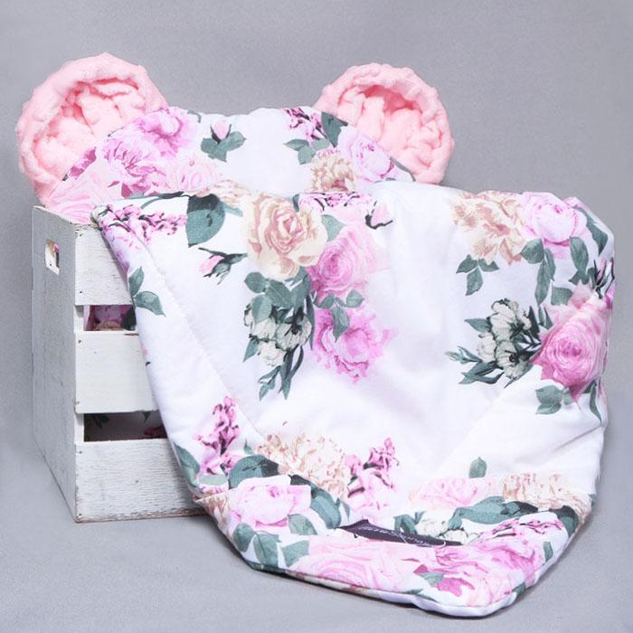 Komplektas vežimėliui su ausytėmis Beautiful flowers Satininės paklodės TavoSapnas
