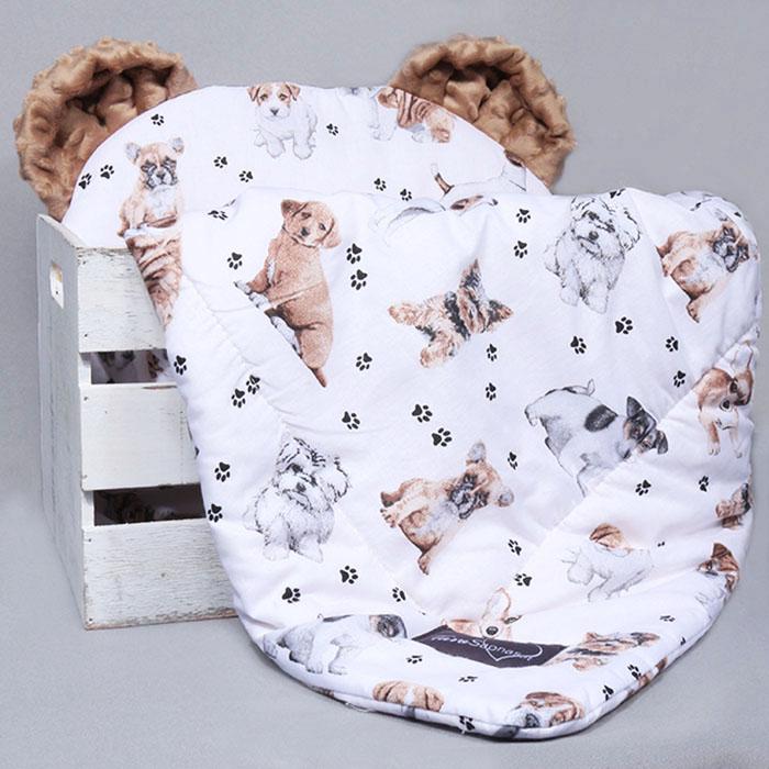 Komplektas vežimėliui su ausytėmis Puppies|Satininės paklodės|TavoSapnas